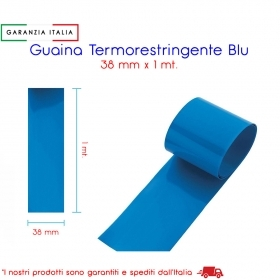 Guaina Termorestringente Blu in PVC Rigido 38 mm x 1 mt.