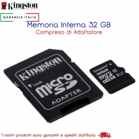 MEMORIA INTERNA 32 GB MICRO SD CON ADATTATORE SD KINGSTON