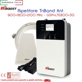 RIPETITORE GESTORE TELEFONICO TRIBAND ANT. 900/2100 MHZ GSM LTE800 3G