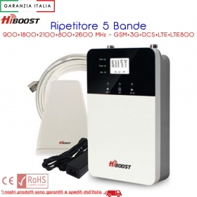 RIPETITORE GESTORE TELEFONICO 5 BAND 900/1800/2100/800/2600 MHz GSM DCS 3G LTE