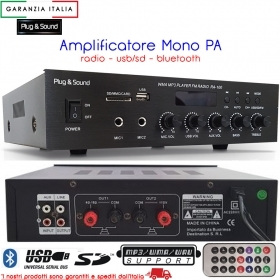 Amplificatore mono PA 70W con radio - USB/SD - Bluetooth - RA-100