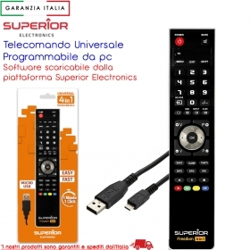 TELECOMANDO UNIVERSALE 4 IN 1 PROGRAMMABILE DA PC VIA USB CAVO INCLUSO