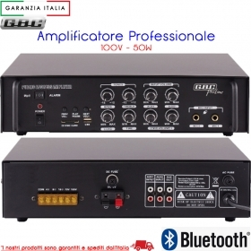 AMPLIFICATORE BLUETOOTH PROFESSIONALE 100V / 50W CON MP3 PER FILO DIFFUSIONE