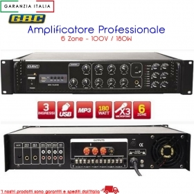 AMPLIFICATORE PROFESSIONALE 100V / 180W A 6 ZONE CON MP3 61611240