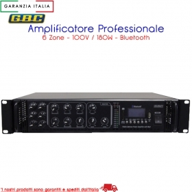 AMPLIFICATORE PROFESSIONALE 100V / 180W A 6 ZONE CON MP3, FM SCAN E BLUETOOTH