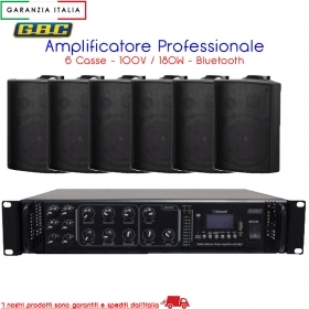 AMPLIFICATORE PROFESSIONALE 100V 180W A 6 CASSE NERE CON MP3 FM SCAN E BLUETOOTH