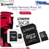 MICRO SD 16GB KINGSTON C10 SDHC CLASSE 10 GENERAZIONE 2 G2 SDC10G2/16GB