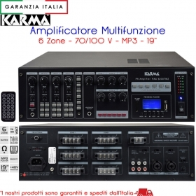 Amplificatore 6 zone 1200W 70/100V 8 Ohm USB SD MP3 - PAA6200TMZ Karma Italiana