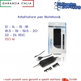 Notebook Adattatore 12 14 15 16 18.5 19 19.5 20 22 24 VDC 150W