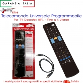 TELECOMANDO UNIVERSALE PROGRAMMABILE 4 IN 1 ASTER TV PC DVD DTT SAT LCD