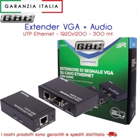 EXTENDER VGA E AUDIO CON UTP  Per estendere il segnale audio e video
