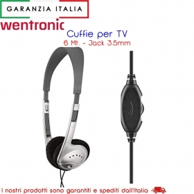 CUFFIE TV con cavo da 6 metri e Jack 3.5 mm / spinotto audio