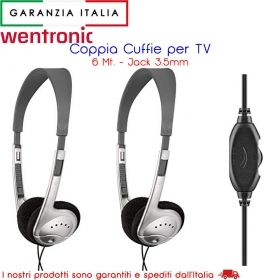 KIT 2 Paia CUFFIE TV con cavo da 6 metri e Jack 3.5 mm / spinotto audio