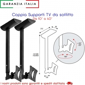 Coppia Bracci a soffitto per TV inclinabile con snodo e aggancio rapido