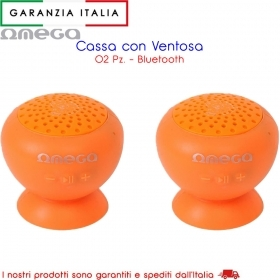 Casse Bluetooth con ventosa waterproof 3W MP3/MP4 - Arancione - x2