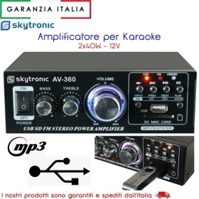 AMPLIFICATORE PER KARAOKE 2x40W 12V MP3 RADIO FM  USB SKYTRONIC