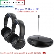 2 cuffie TV Duo Stereo wireless Senza Fili con RF Radiofrequenza UHF