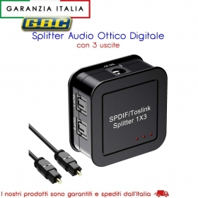 SPLITTER AUDIO DIGITALE TOSLINK 3 OUT CON ALIMENTATORE