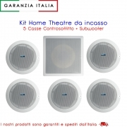 Kit Audio Per Casa, Sistema Surround 5 Casse Controsoffitta 30W e Subwoofer 100W