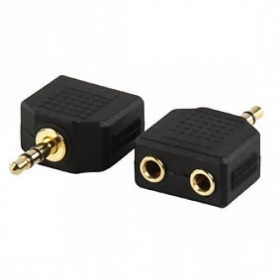 ADATTATORE SPINA JACK STEREO 3,5MM A 2 X 3,5MM PRESA JACK STEREO GOLD 2 PZ
